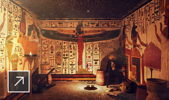 3D reconstruction of the tomb of Nefertari featuring Egyptian imagery and hieroglyphic writing