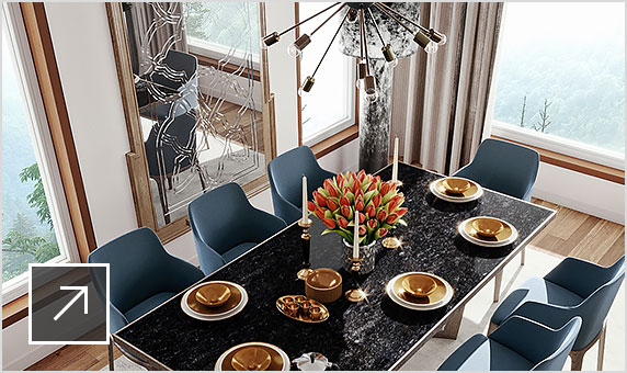 Rendering of stylish high-end dining room with black lacquered table, gold-toned dinnerware and futuristic chandelier