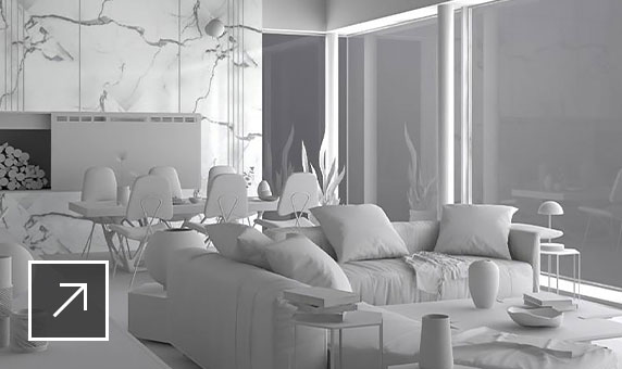 Monochrome 3D model of living room prior to texturing and rendering