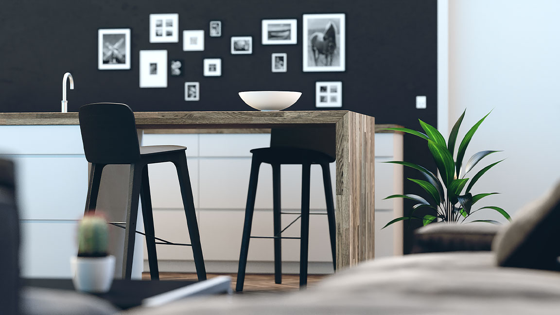 Living space design visualisation made with 3ds Max software