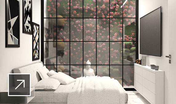 Minimalist bedroom with marble floor, a sofa bed, large-screen TV and a window wall facing a pink-flowered bush