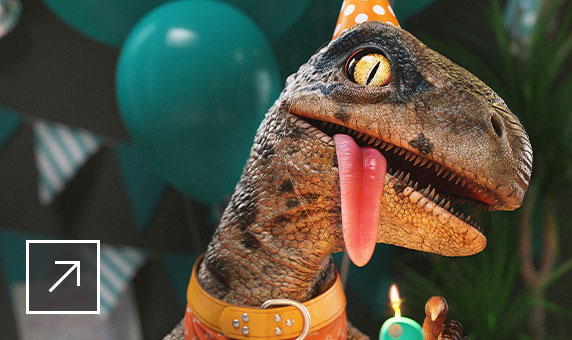 Rendering of baby velociraptor wearing birthday hat, bandana, and name tag in front of birthday cake with dinosaur candle