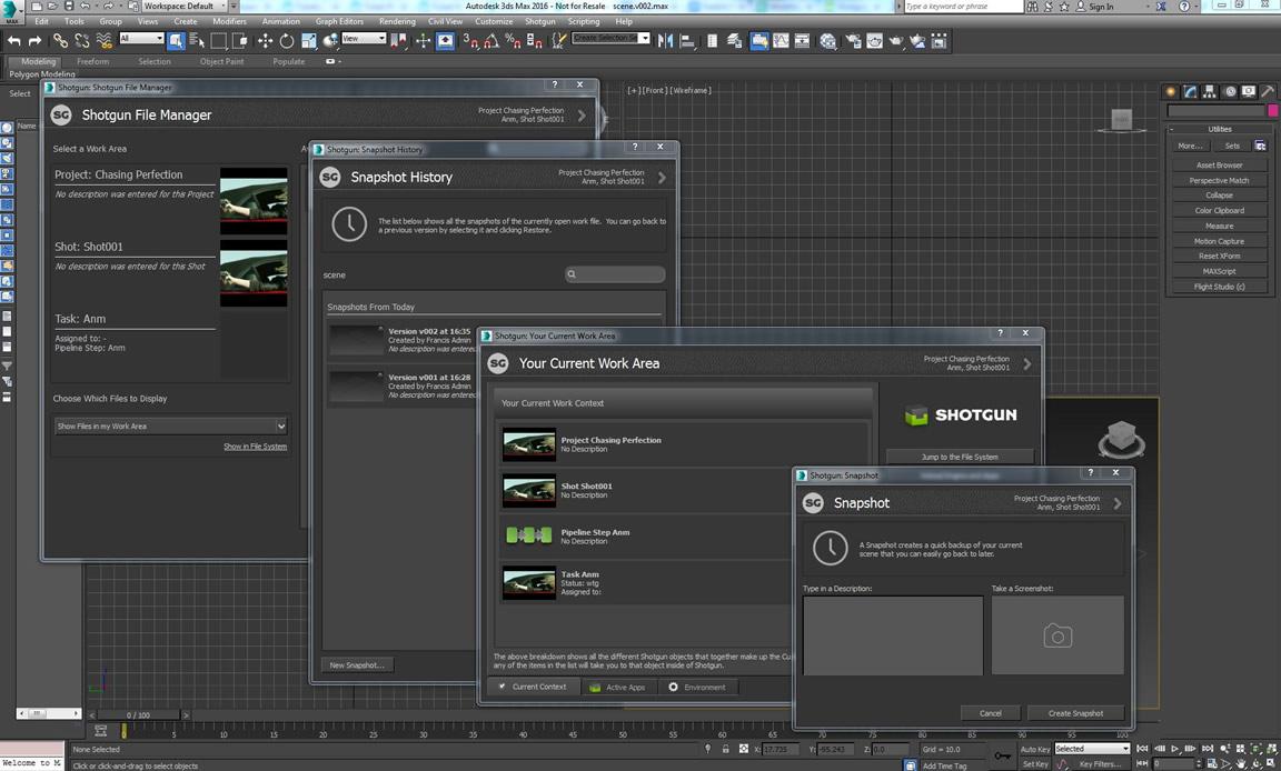 Shotgun ve 3ds Max arasındaki entegrasyon geliştirildi; Python ve .NET araç seti geliştirildi
