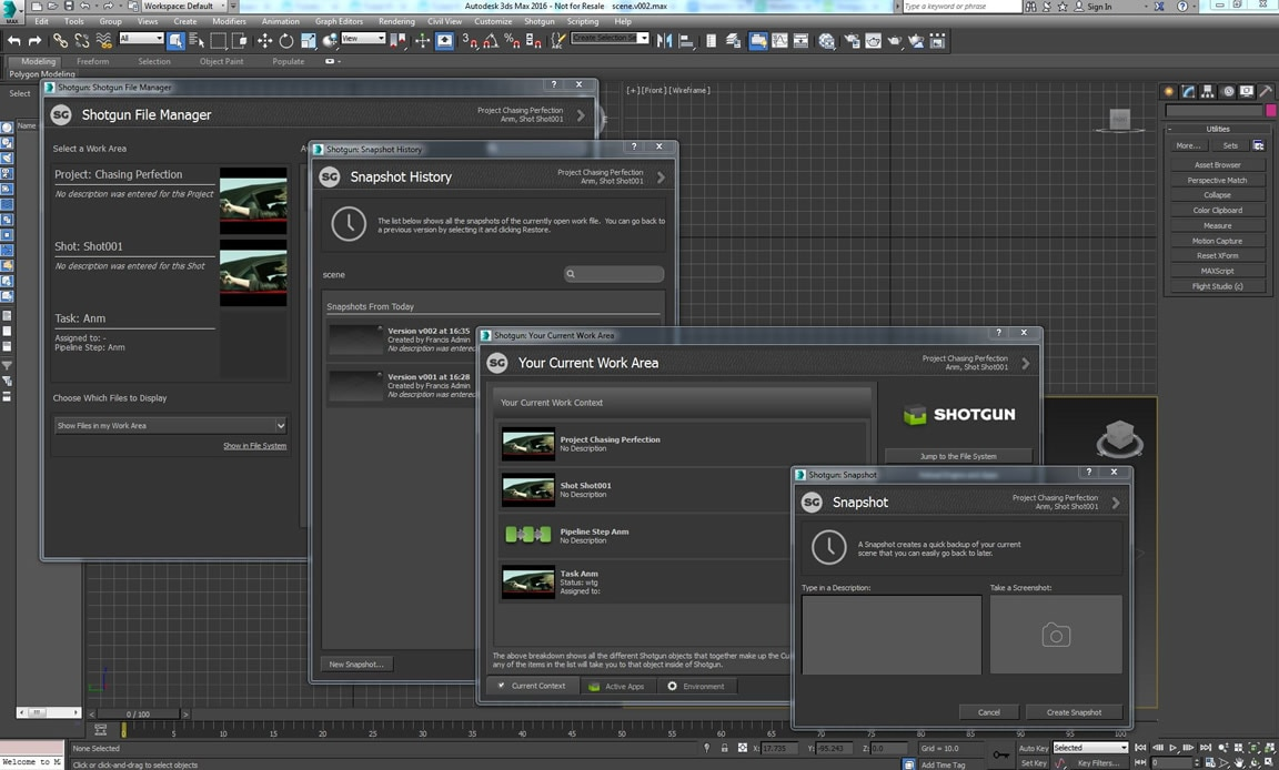 Shotgun と 3ds Max 間の統合の緊密化、Python と .NET ツールセットの改善