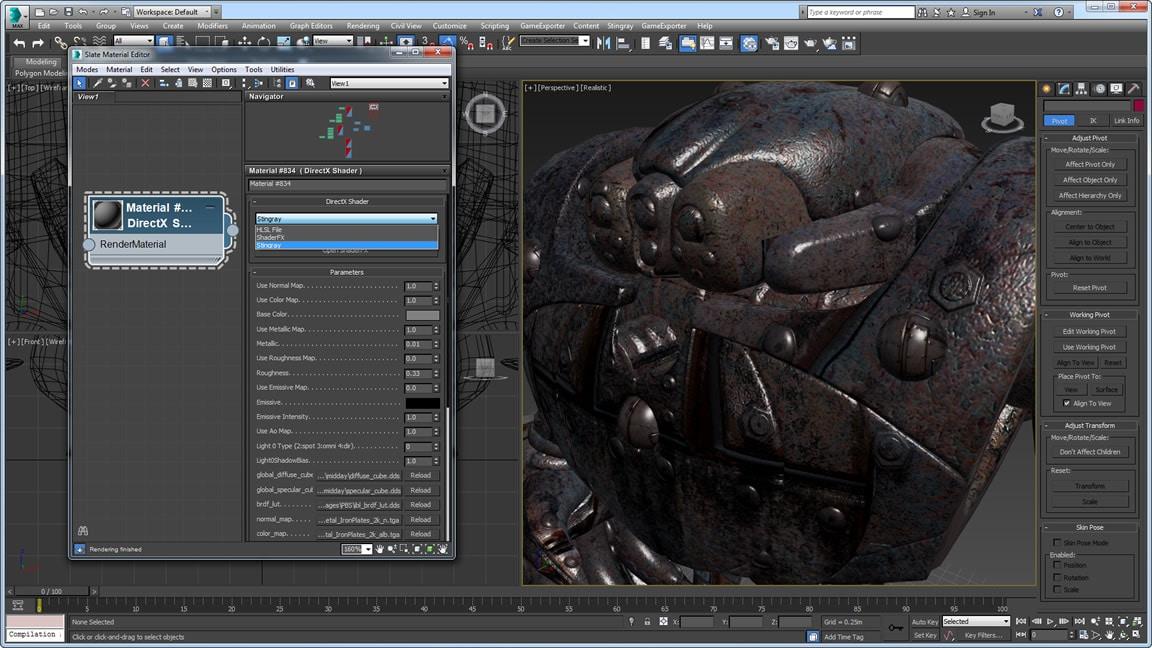 透過 ShaderFX 增強功能使用 Stingray 時,能夠更好地支援基於實際情況的描影程式