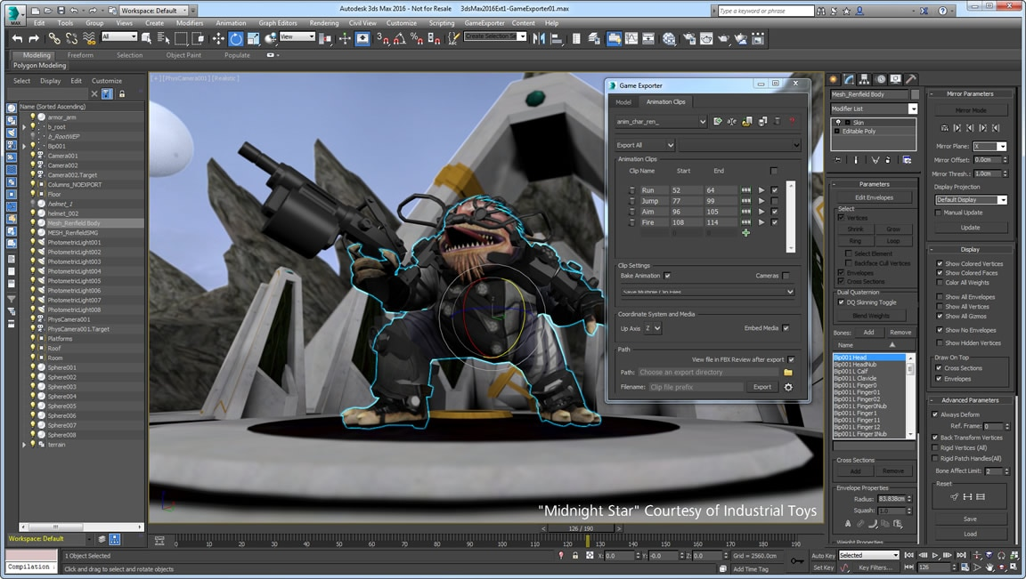 Transfer data into game engines using FBX technology