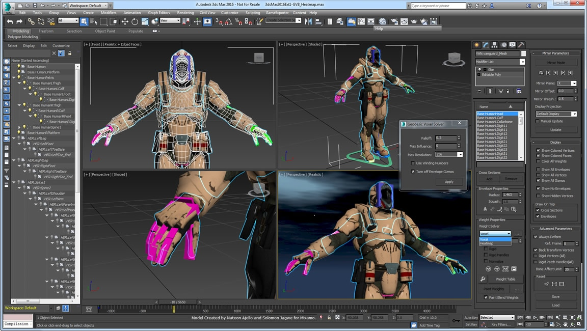 Create better skin weighting more quickly with Geodesic Voxel and Heatmap skinning