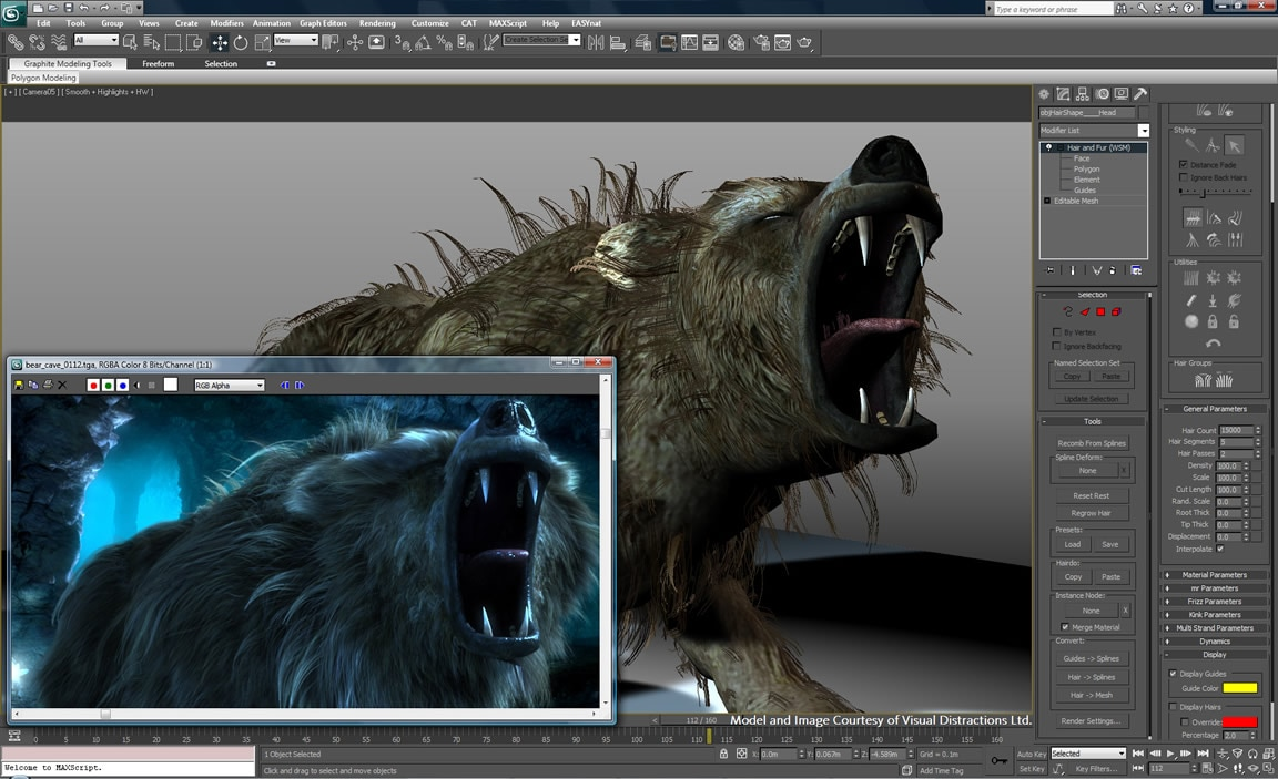 Realistic, dynamic effects for hair and fur