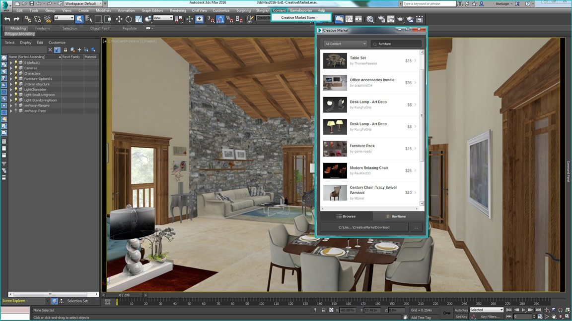 Search for high-quality 3D content directly from the 3ds Max interface