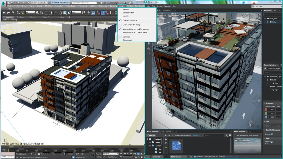 New live link between Stingray and 3ds Max