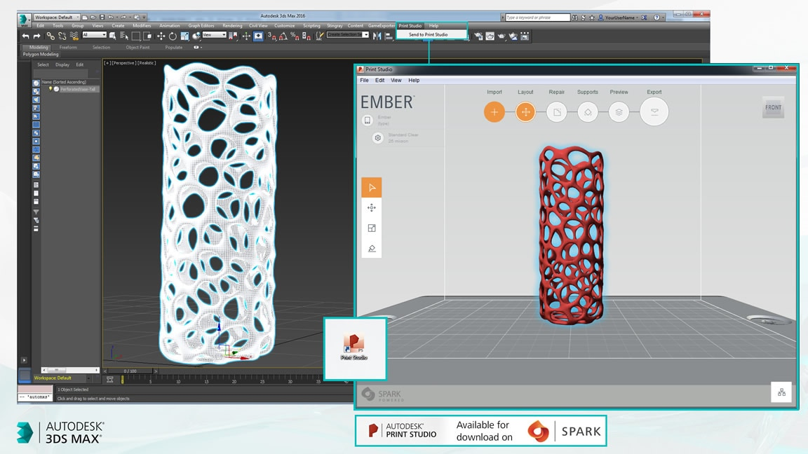 Launch Print Studio from 3ds Max