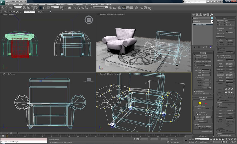 Support for polygon, spline, and NURBS-based modeling