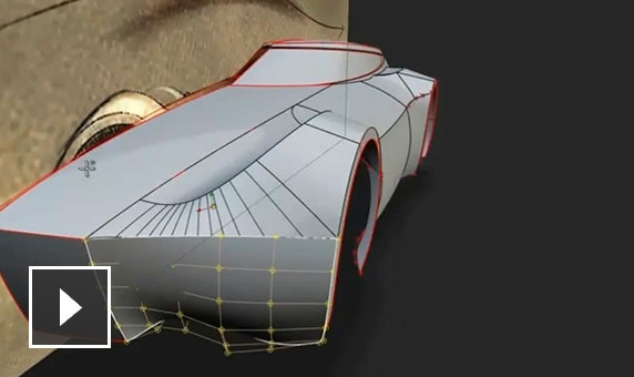 Video: Using Alias to sculpt and edit smooth, curved lines on a 3D model of a futuristic car