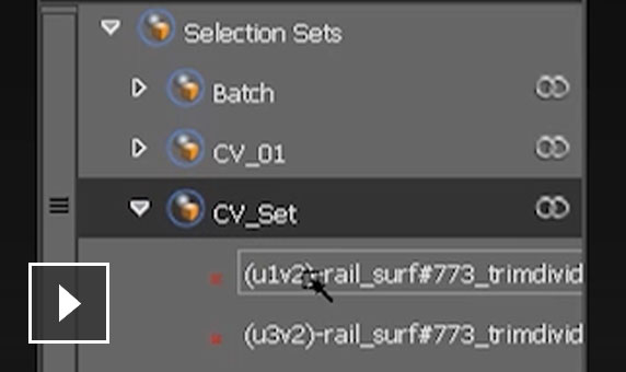 Video: Create and save selection sets out of surfaces and subdivs, groups, meshes, curves or CVs