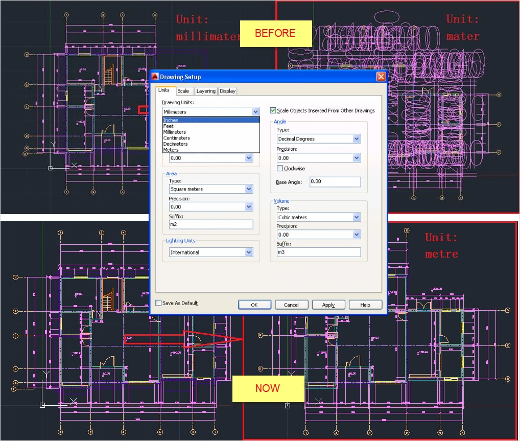 Opatření objektů v architektonických výkresech poznámkami a měřítky jednotek