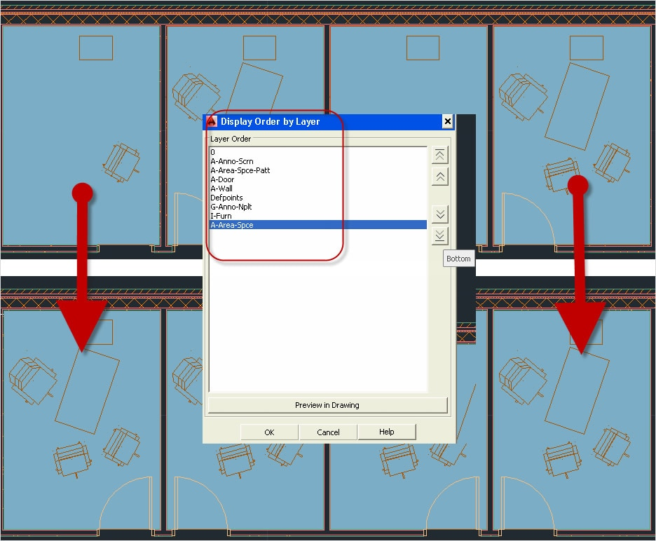 Order layers and objects in AutoCAD Architecture