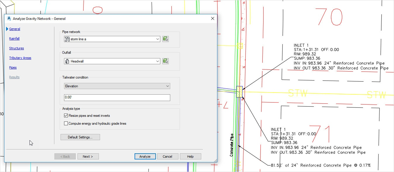 Pipe sizing and analysis  sc 1 st  Autodesk & Civil 3D 2019 Features | Autodesk