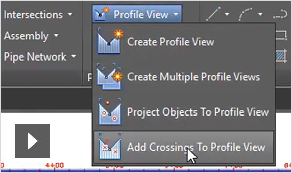 Cruzamentos na vista de perfil do Autodesk Civil 3D