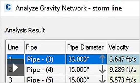 Video: Analyse Gravity Network command includes pipe sizing, computing energy and hydraulic gradelines and inlet analysis