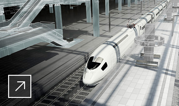 Partially rendered model of aerodynamically shaped high-speed train on ground floor of large terminal building