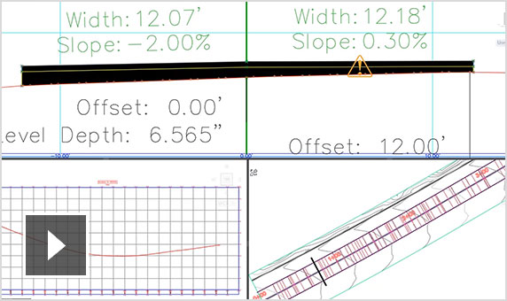Video: Silent screencast that shows some of the road rehab tools in Civil 3D