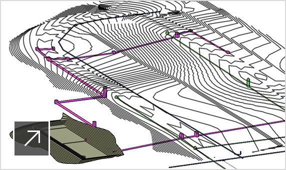 Conceptual drawing of silo corridor gravity system in Civil 3D user interface