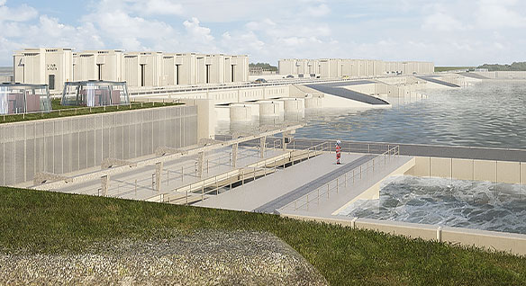 Rendering of the Afsluitdijk dike in the Netherlands