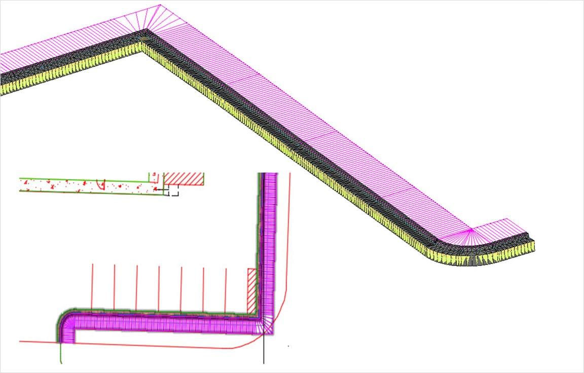 Die Tiefbauplanungsfunktionen umfassen die Eckenbereinigung für 3D-Profilkörper