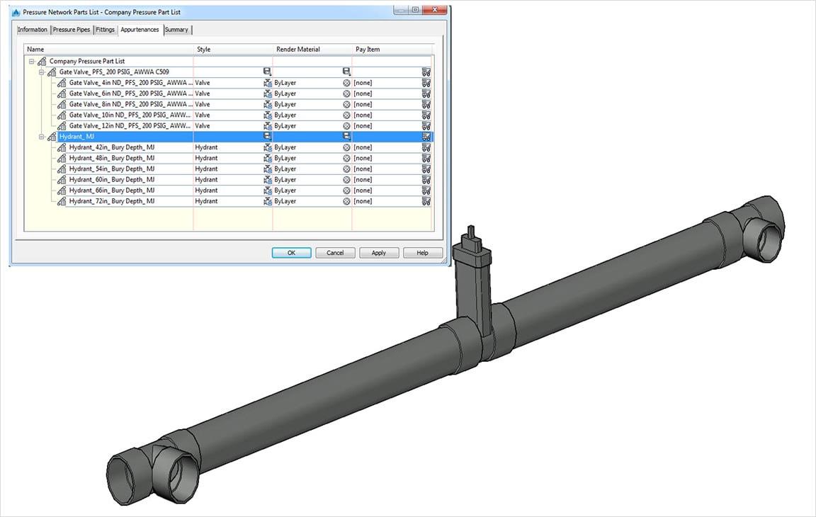 Les fonctionnalités de conception de tuyaux incluent des améliorations apportées au contenu des tuyaux sous pression
