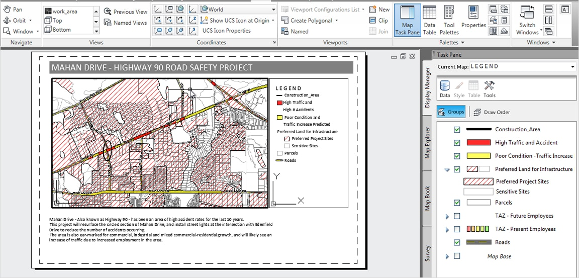 Map production can highlight specific features or information