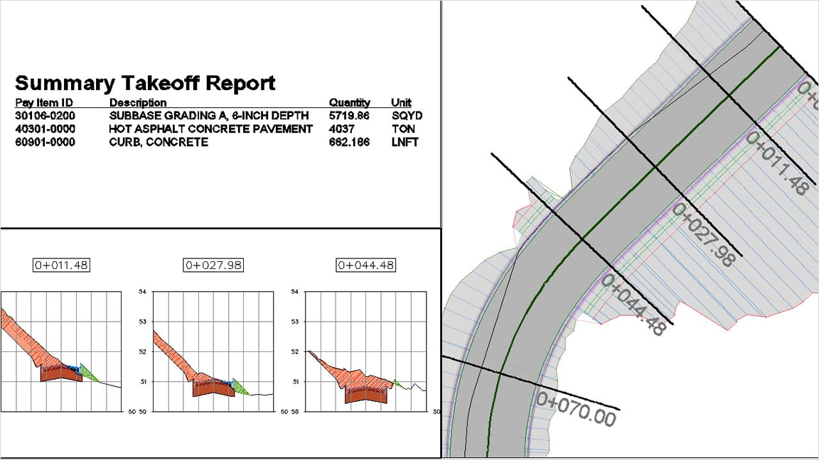 Generate a summary takeoff report