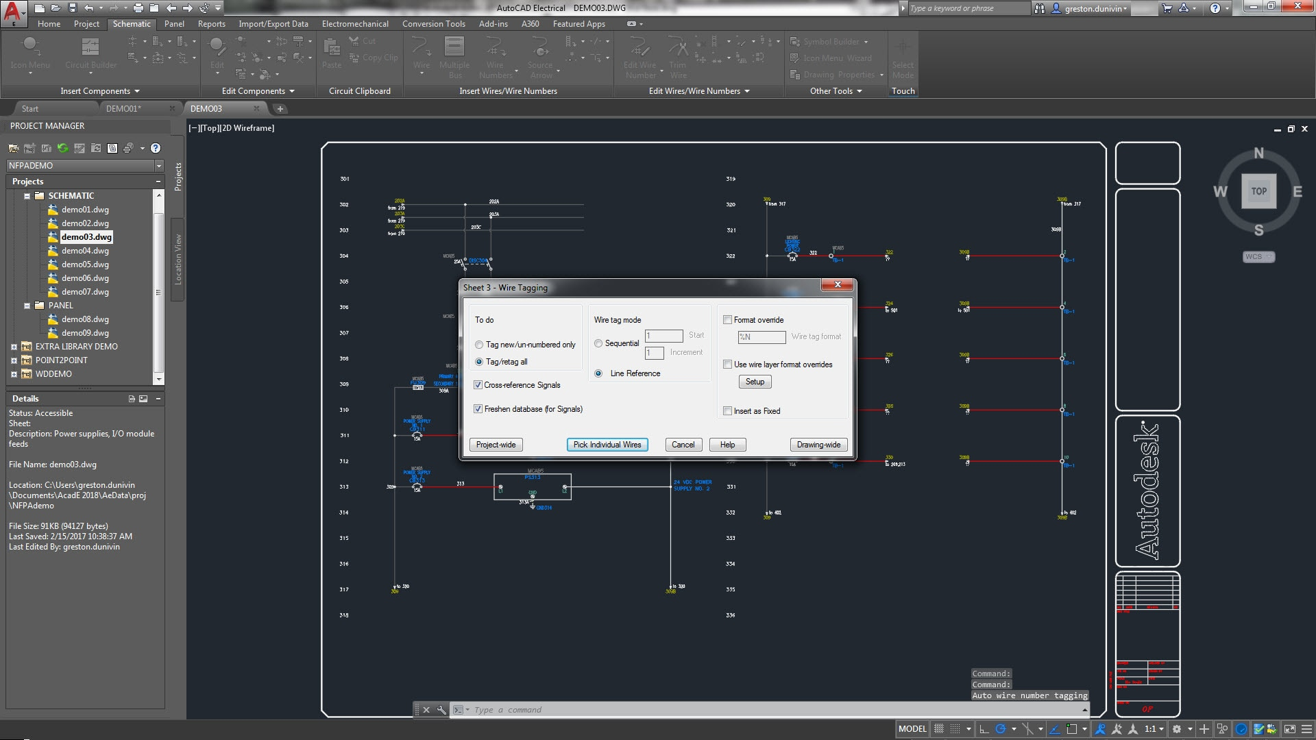 The AutoCAD Electrical toolset includes wire numbering and component tagging