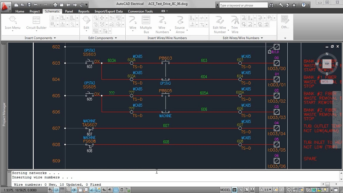 Image demo of automatic wire numbering and component tagging feature in AutoCAD Electrical