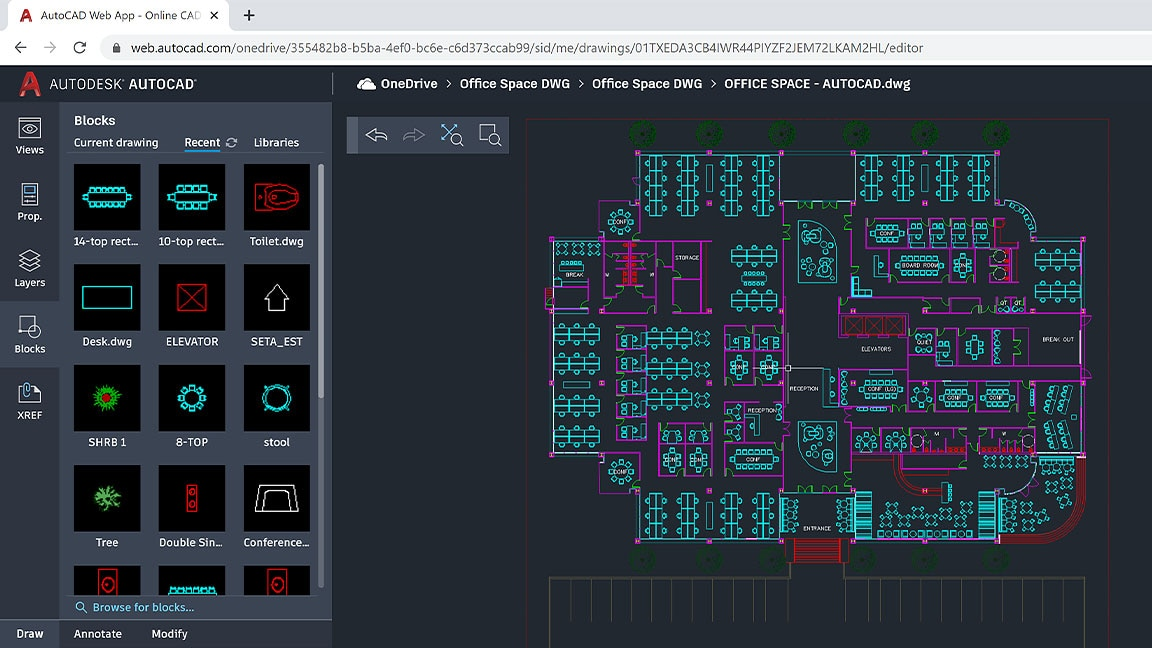 screen capture of autocad web app in use mocking up an office space