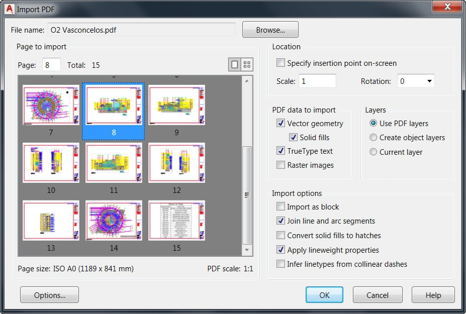 Import the geometry from a PDF file into your drawing as an AutoCAD object