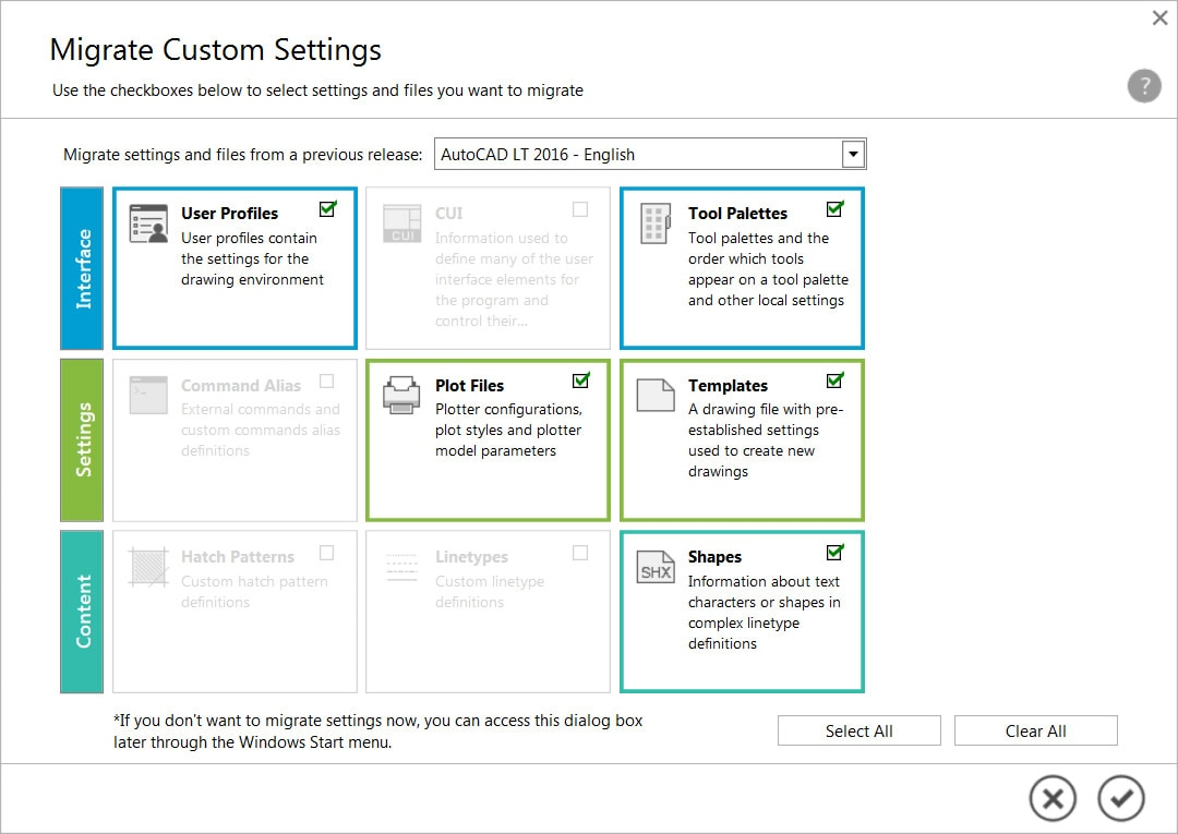Migrate your custom settings and files from preceding releases