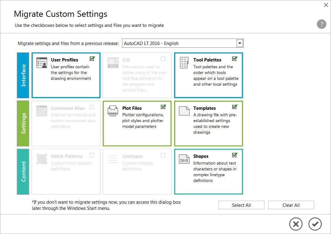 Migrez vos paramètres et fichiers personnalisés à partir de versions précédentes