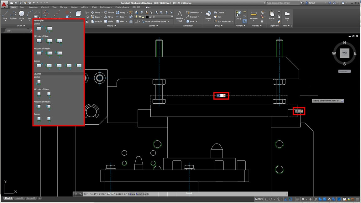 Drawing rectangles is easier autocad mechanical features