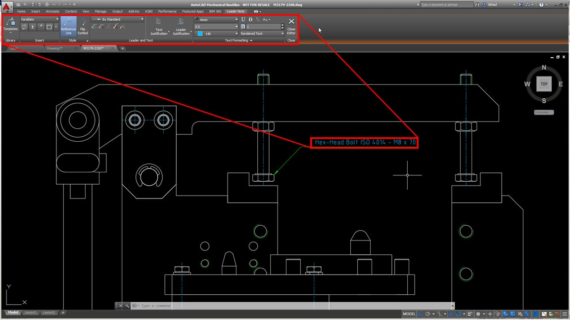 Edit leader notes directly in the drawing area