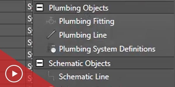 Plumbing menu in MEP software