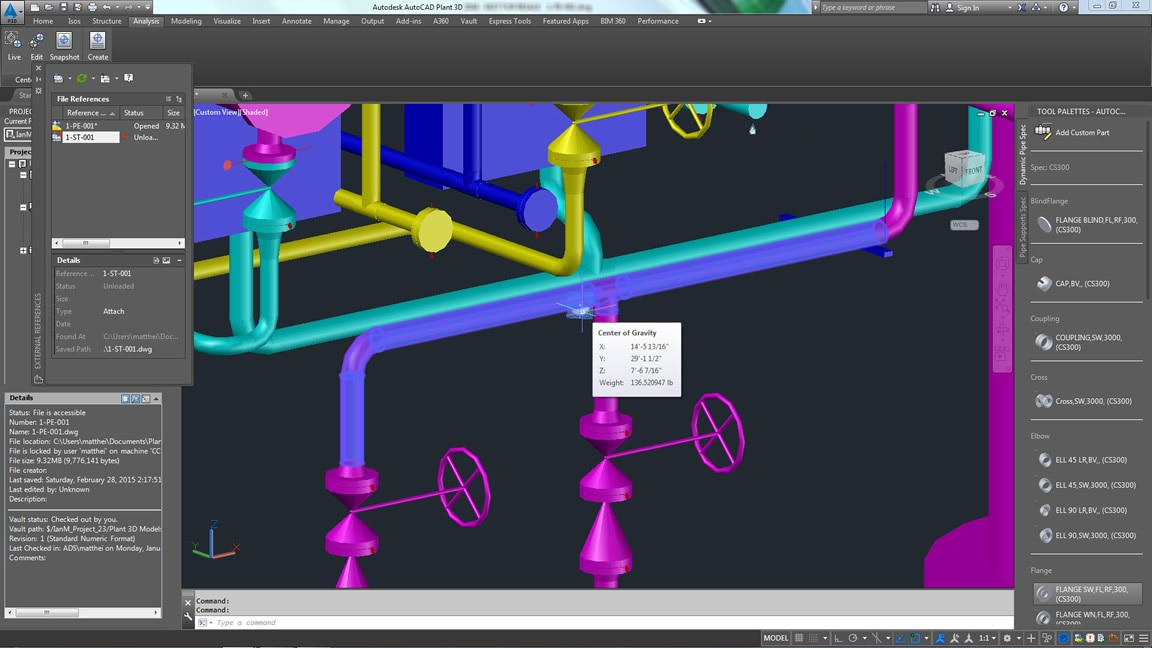 Locate center of gravity of piping spools.