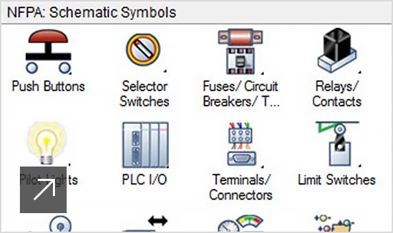 The AutoCAD Electrical toolset includes electrical schematic symbol libraries