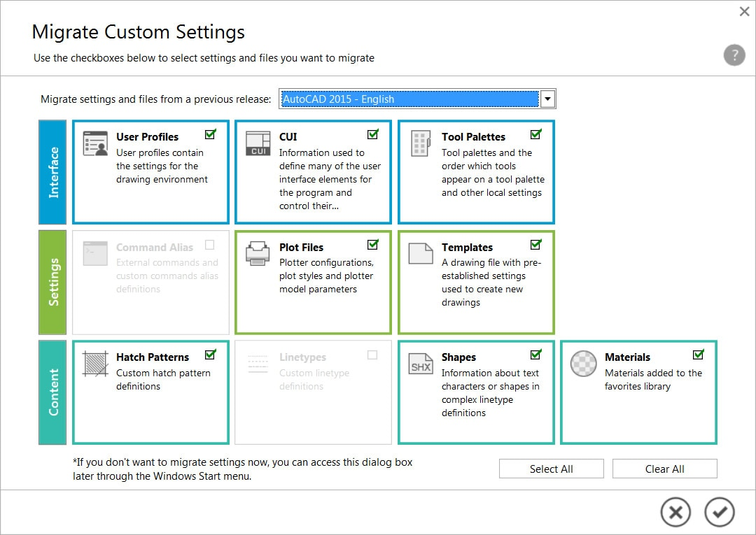 The Migration tool lets you transfer your custom settings and files from previous releases