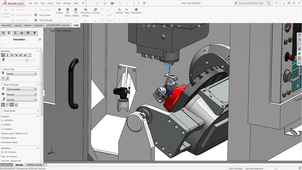 HSMWorks におけるフライス盤のシミュレーション