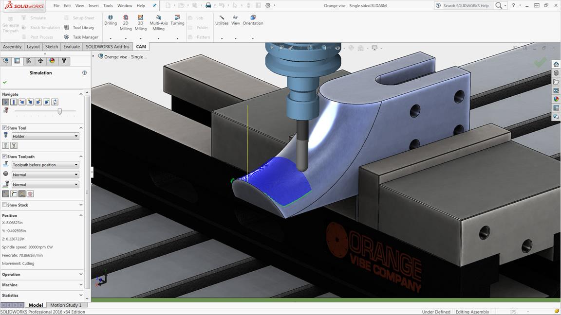 Simulation von Rohteilen und Werkzeugwegen in HSMWorks