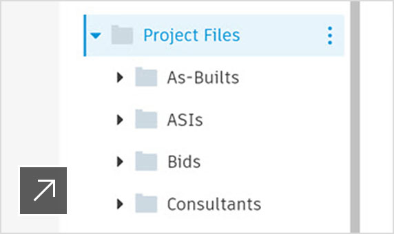A project files folder showing how to organize project data and manage permissions
