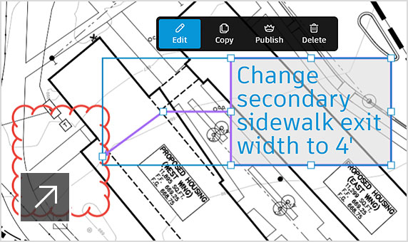 Interface showing ability to create, edit, publish, and delete markups in drawings