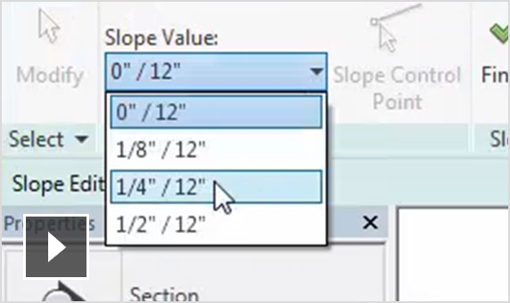 Video: Animated screenshot showing how Revit enables you to model slope pipe, part by part