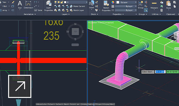 3D model of an MEP ductwork system shown in CAD software