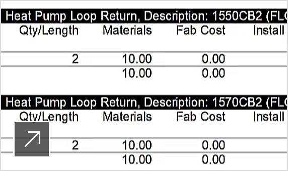 Cost report generated from MEP fabrication design software